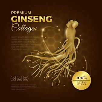 Premium ginseng collagen realistic ad