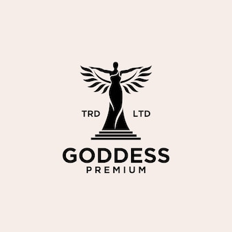 Premium goddess women with wing vector logo design