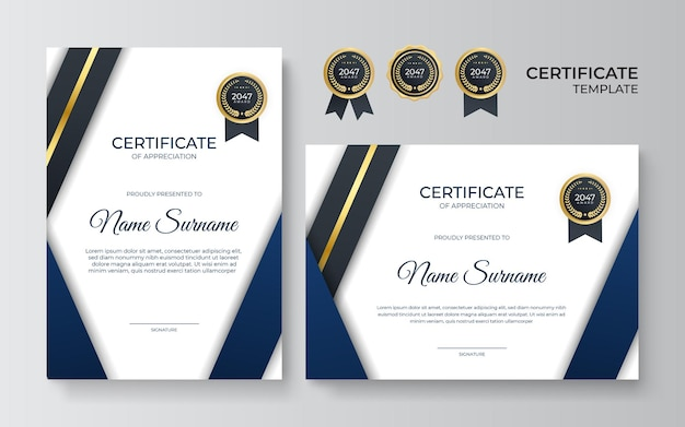 Премиальный золотой и синий шаблон сертификата признательности, чистый современный дизайн с золотым значком