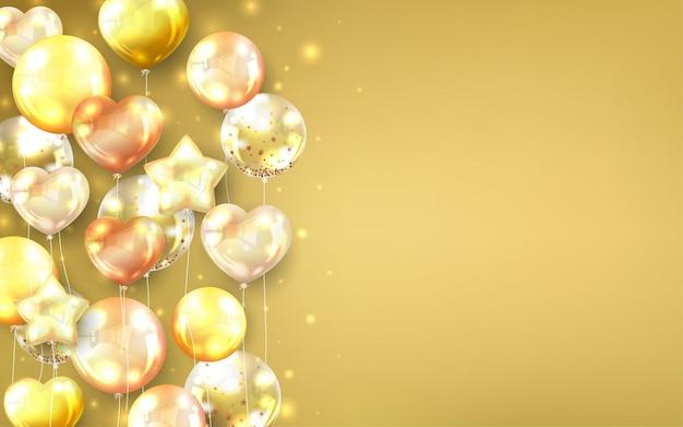 装飾的なお祝いカードのプレミアムゴールドバルーン背景