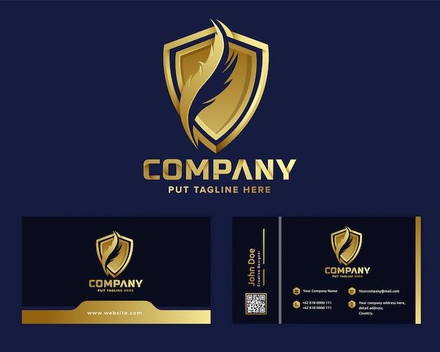 Премиум золотое перо закон логотип шаблон для компании