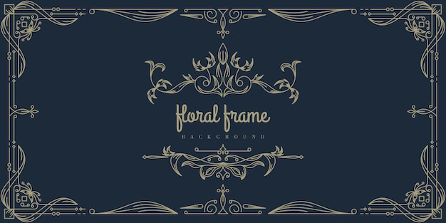 Premium gold floral frame background template