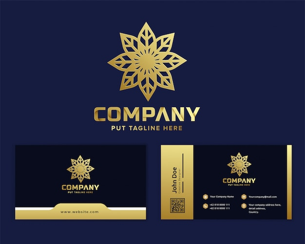 Premium gold flower logo template for company