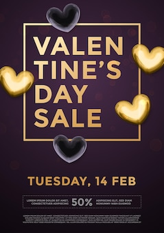 Premium gold hearts for valentine sale lettering text on vector luxury black background poster