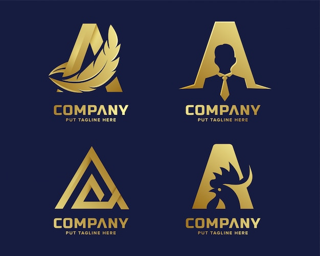 Premium gold letter a logo for company