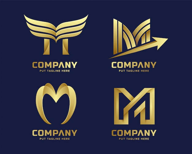Premium gold letter m logo for company