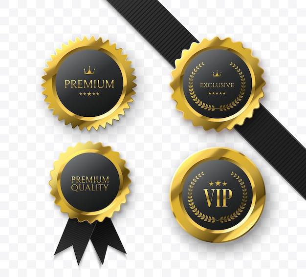 Премиальные золотые медали и значки vip sign коллекция роскошных медалей