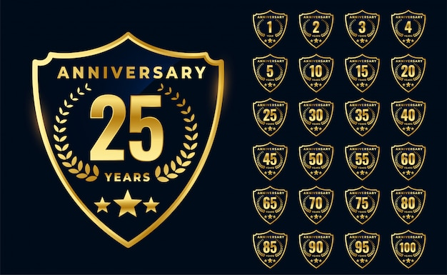 Premium golden anniversary logotype big collection design