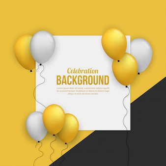 Premium golden ballon card for birhtday party, graduation, celebration event and holiday