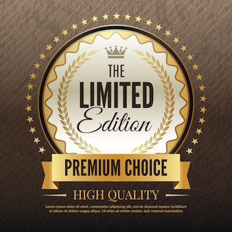 Premium golden banner, luxury template of high quality service and choice placard  template