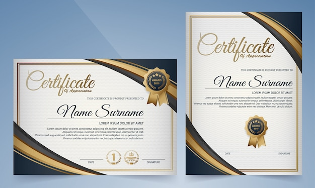 Premium golden black and blue certificate template