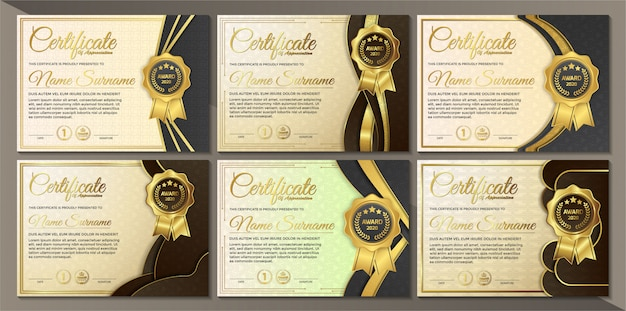 Premium golden black certificate template