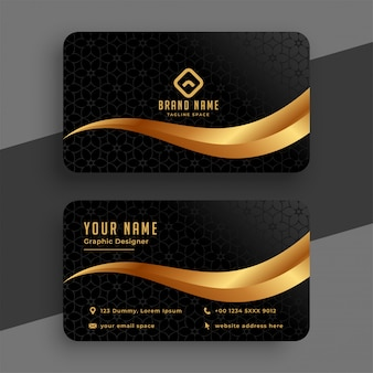 Premium golden and black wavy business card