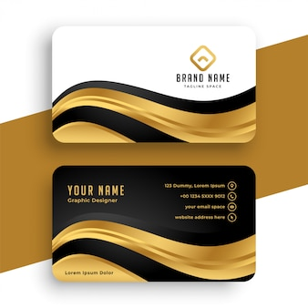 Premium golden business card  with wavy shape