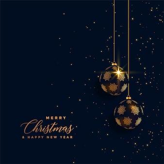 Christmas Invitation Background Gold.Premium Golden Chrstimas Balls On Dark Background Vector