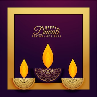 Premium golden decorative diwali festival banner