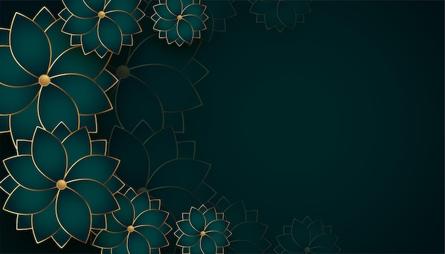Premium golden flowers background with text space