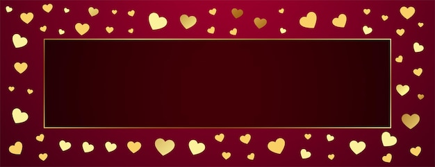 Premium golden hearts frame with text space