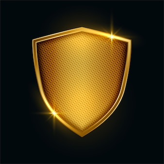 Premium golden metallic security shield badge design