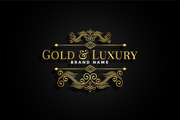 Premium golden ornamental floral brand