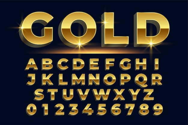 Premium golden shiny text effect set of alphabets