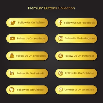 Premium golden social media and other platform follow us and contact us buttons