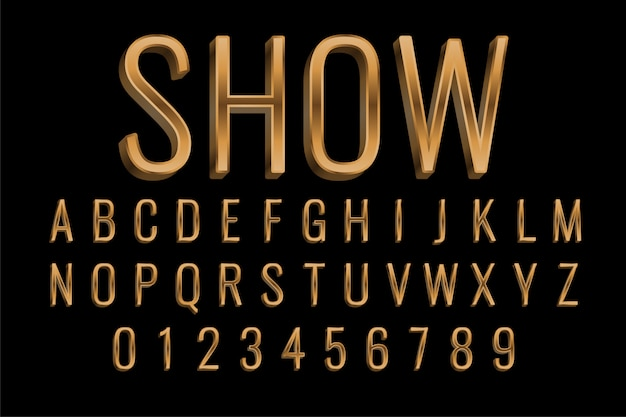Premium golden style text effect in 3d