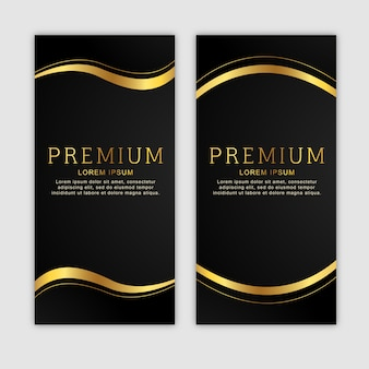 Premium golden vertical banner set
