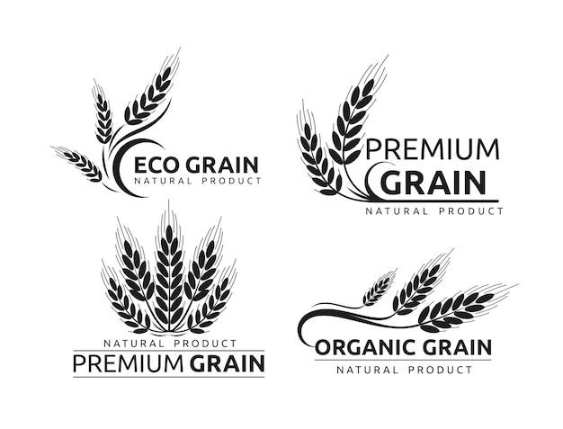 Premium grain flat logotype in black silhouette designs set organic cereal crops
