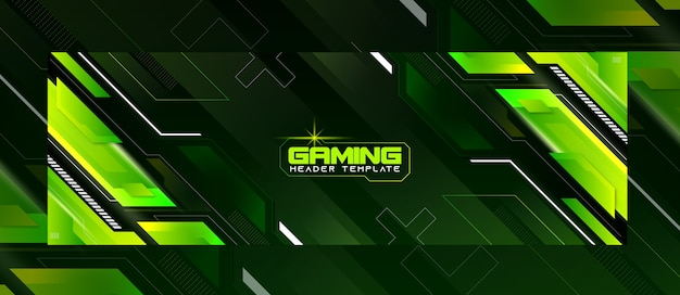 Premium green futuristic gaming header template