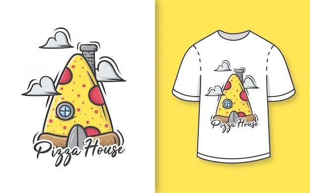 プレミアム手描きtシャツのかわいいピザハウスイラスト