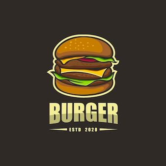 Премиум рукописный шаблон логотипа burger