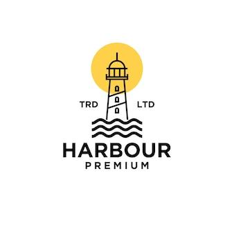 Premium harbor with moon on the ocean vector black logo design