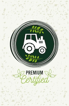 Premium and healthy food poster with tractor