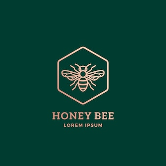 프리미엄 꿀 꿀벌 추상 기호, 상징 또는 로고 템플릿.