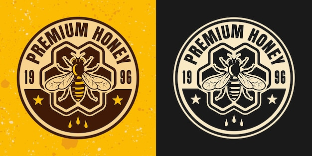 Premium honey two colored styles vector emblem, badge, label or logo with hive on yellow and dark background