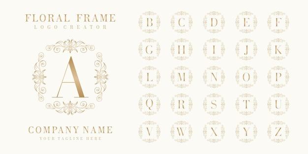 Premium initial bedge logo design with floral frame