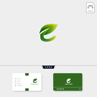 Premium initial e nature leaf creative logo template and business card template