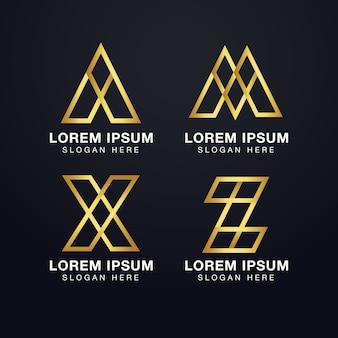 金色のプレミアムの最初の文字a、m、x、およびzのロゴテンプレート