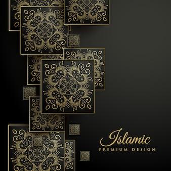 花のスクエアマンダラパターンとプレミアムイスラムの背景