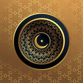 Premium islamic moon and star golden background