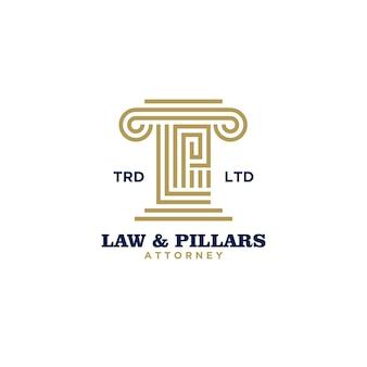 초기 문자 l 및 p 로고 디자인이 있는 프리미엄 법률 기둥 변호사