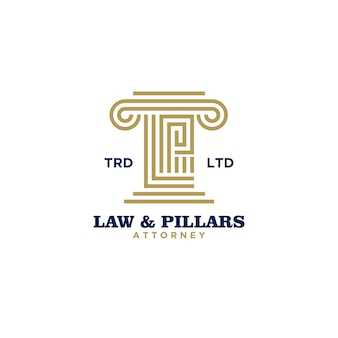 Premium law pillars attorney with initial letter l and p logo design