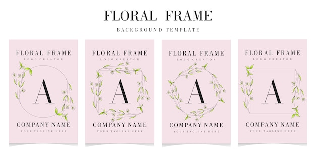 Premium letter a logo with floral frame template