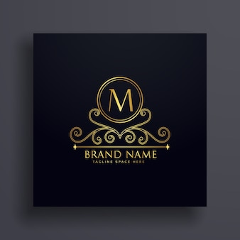 Premium letter m logo concept design with decorative element