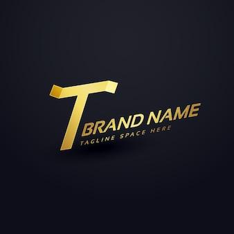 프리미엄 문자 t 로고 개념