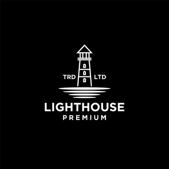 Premium lighthouse with ocean vector black logo design