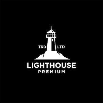 Премиум маяк с океаном вектор черный дизайн логотипа