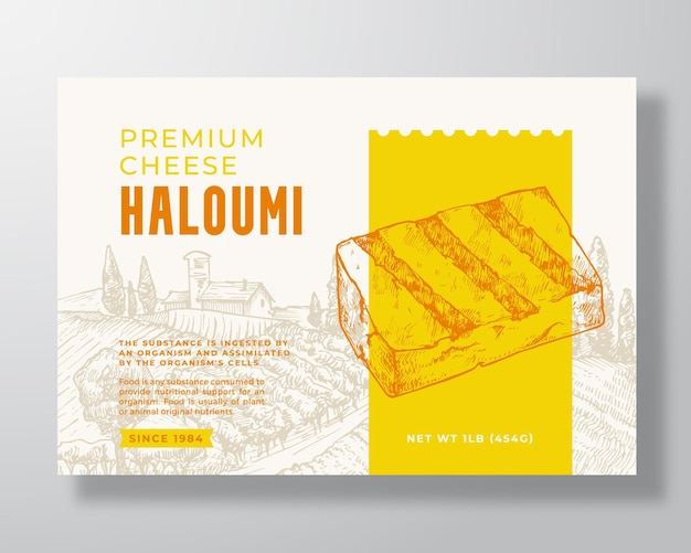 Premium local haloumi food label template. abstract vector packaging design layout. modern typography banner with hand drawn cheese piece and rural landscape background. isolated.