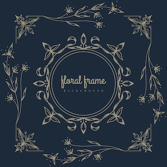 Premium logo with floral frame